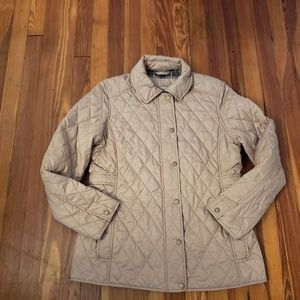 LL Bean Tan Womens Quilted Jacket Size Medium in e